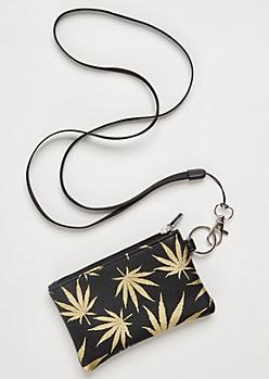 Black Metallic Weed Print Lanyard Wallet