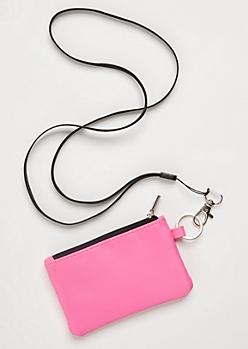 Neon Pink Nylon Lanyard Wallet