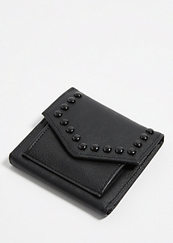 Black Studded Mini Envelope Wallet
