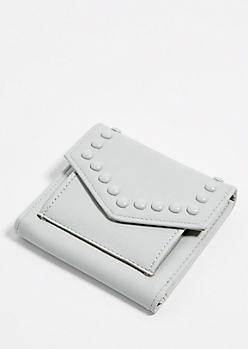 Light Gray Studded Mini Envelope Wallet