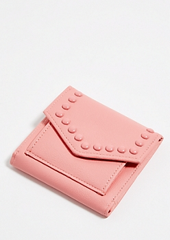 Light Pink Studded Mini Envelope Wallet