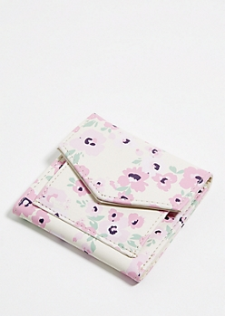 Ivory Floral Mini Envelope Wallet