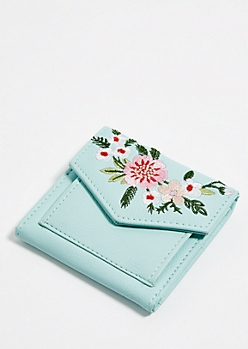 Mint Floral Embroidery Mini Envelope Wallet