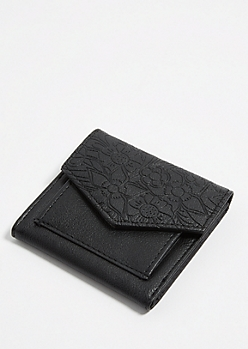 Black Floral Embossed Mini Envelope Wallet