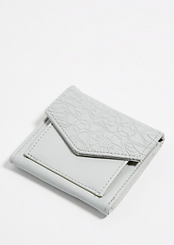 Light Gray Floral Embossed Mini Envelope Wallet