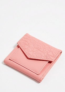 Light Pink Floral Embossed Mini Envelope Wallet