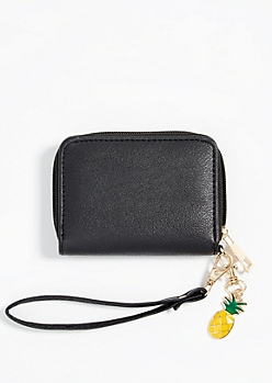 Black Faux Leather Pineapple Charm Wallet