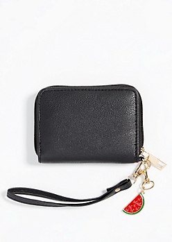Black Faux Leather Watermelon Charm Wallet