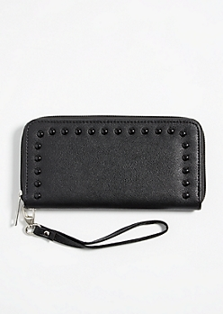 Black Faux Leather Pearl Studded Wallet