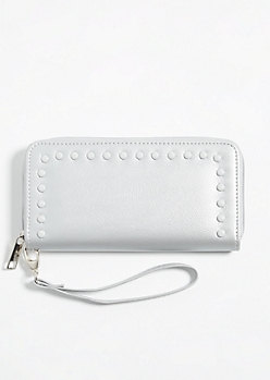 Silver Faux Leather Pearl Studded Wallet