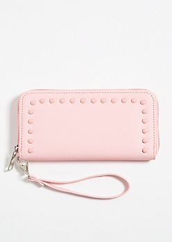 Pink Faux Leather Pearl Studded Wallet