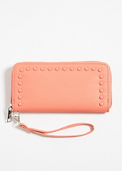 Coral Faux Leather Pearl Studded Wallet