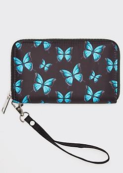 Black Butterfly Print Wallet