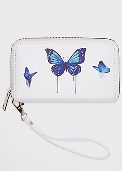 White Drippy Butterfly Print Wallet
