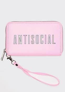 Pink Antisocial Print Wallet