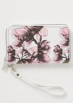 White Floral Print Wallet