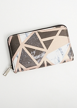 Rose Gold Geometric Marble Wristlet