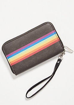 Black Rainbow Striped Wallet