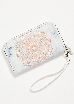 Marble Metallic Medallion Print Wallet