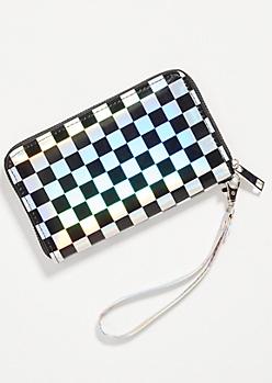 Iridescent Checkered Print Wallet