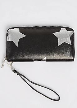 Silver Foil Star Zip Wristlet
