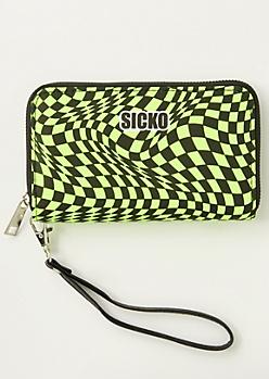 Neon Green Checkered Print Sicko Wallet