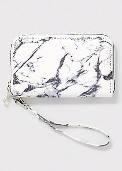 White Marble Print Wristlet