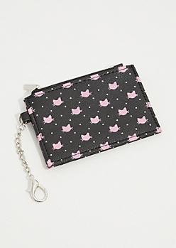 Black Dotted Cat Cardholder Wallet