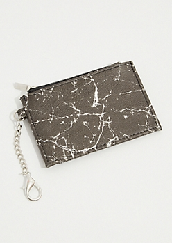Black Marble Print Cardholder Wallet