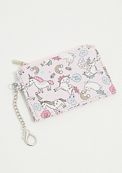 Light Pink Magical Unicorn Cat Cardholder Wallet