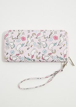 Light Pink Magical Unicorn Cat Wristlet
