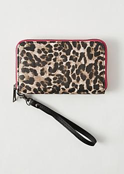 Leopard Print Pink Zip Wallet