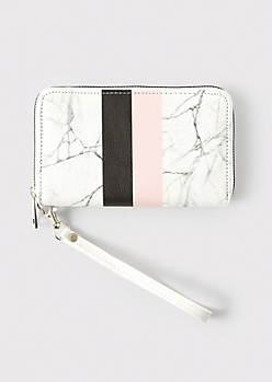 White Marbled Striped Zip Wallet