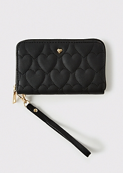 Black Quilted Heart Zip Wallet