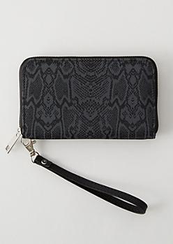 Black Snakeskin Print Wallet