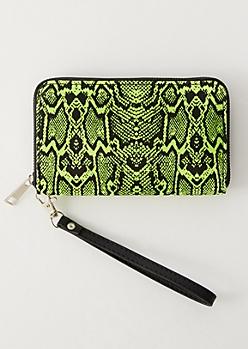 Green Snakeskin Print Wallet