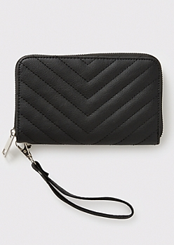 Black Chevron Quilt Wallet