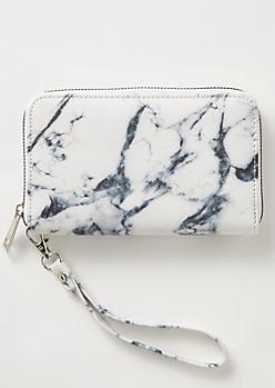 White Marble Print Wallet