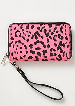 Neon Pink Leopard Print Wallet