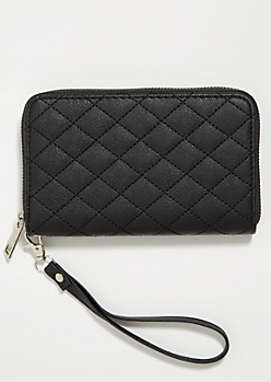 Black Quilted Pattern Wristlet