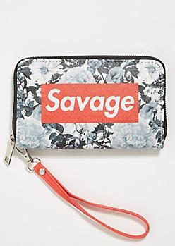 Gray Savage Floral Print Wristlet