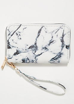White Marbled Pattern Wristlet