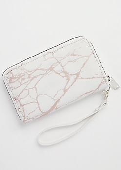 Rose Gold Marbled Wristlet