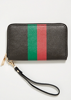 Red Striped Wristlet