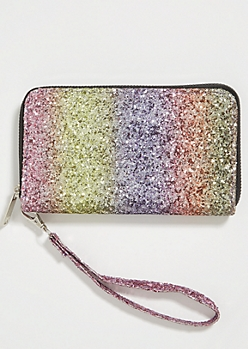 Rainbow Striped Glitter Wristlet