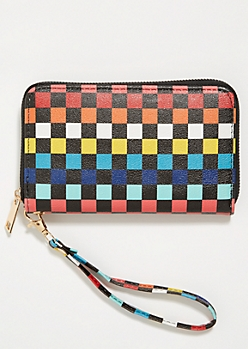 Rainbow Checkered Print Wristlet