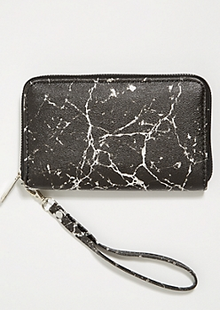 Black Marbled Pattern Wristlet
