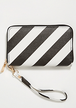 Black Diagonal Striped Wristlet