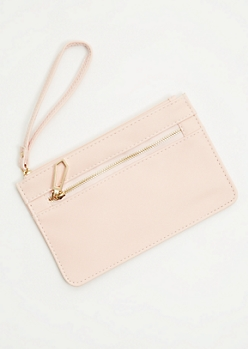 Pink Textured Gold Zip Wristlet
