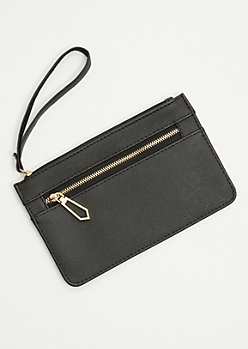 Black Textured Gold Zip Wristlet